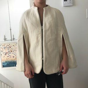 Zara cream zip up cape coat